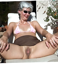 Granny whore with hairy pussy in stockings