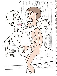 Cartoon elderly and grannies naked.
