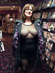 grandma without bra on the go